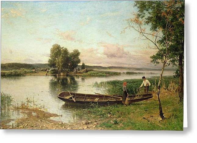 Working Boats Greeting Cards - Fishermen unloading their catch in a river landscape Greeting Card by Hjalmar Munsterhjelm