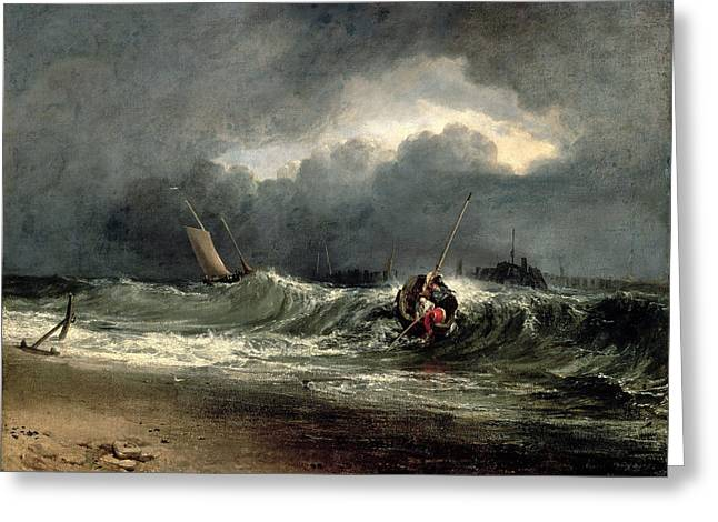 Storm Wave Greeting Cards - Fishermen Upon A Lee-shore In Squally Greeting Card by Joseph Mallord William Turner