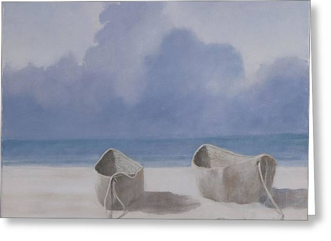 Fishing Boats Greeting Cards - Fishermens Dugout, Kilifi, 2012 Acrylic On Canvas Greeting Card by Lincoln Seligman