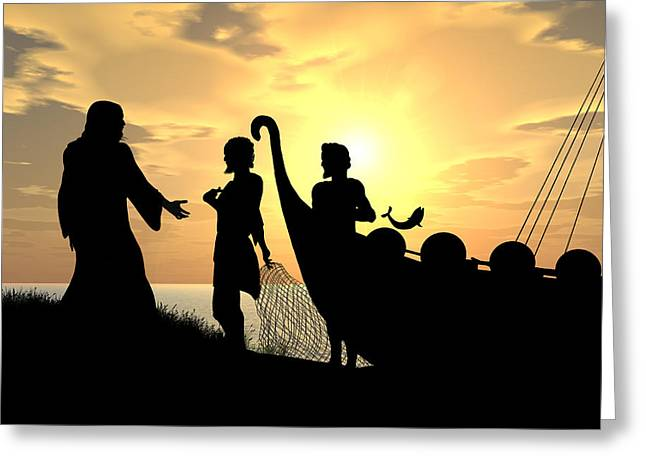 Following Jesus Greeting Cards - Fishers of Men Greeting Card by Kim Freitas