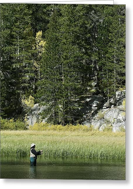 Cabelas Greeting Cards - Fisherwoman - Eastern Sierra Califonia Greeting Card by Ram Vasudev