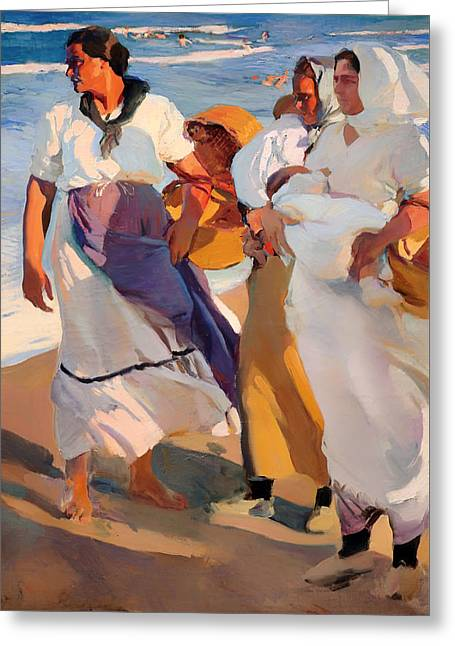 Swimmers Greeting Cards - Fisherwomen from Valencia Greeting Card by Joaquin Sorolla