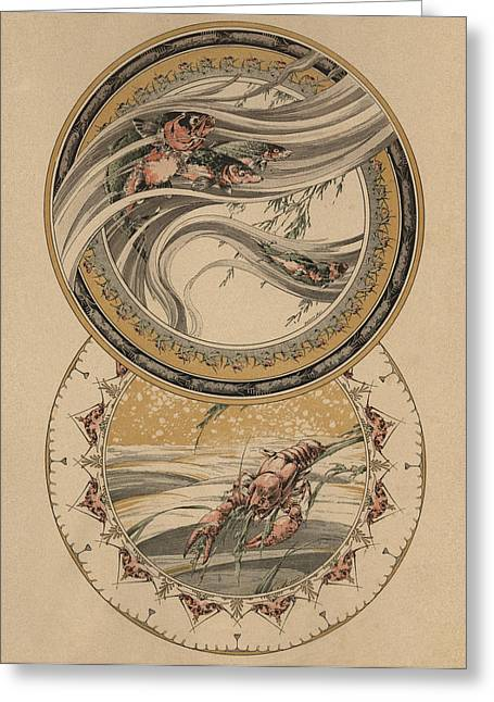 Asia Drawings Greeting Cards - Fishes and lobster Greeting Card by Jules-Auguste Habert-Dys