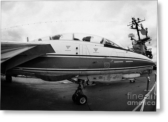 Manhatan Greeting Cards - fisheye shot of Grumman F14 on the flight deck of the USS Intrepid Greeting Card by Joe Fox