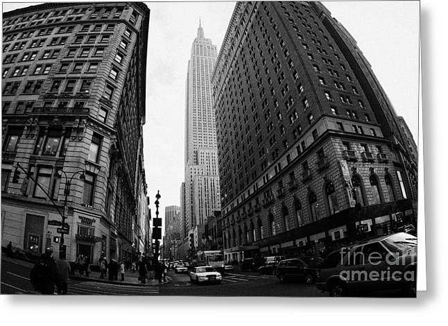 fisheye shot View of the empire state building from West 34th Street and Broadway junction Greeting Card by Joe Fox