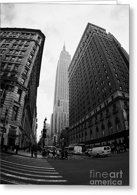 Manhatan Greeting Cards - fisheye shot View of the empire state building from West 34th Street and Broadway new york usa Greeting Card by Joe Fox
