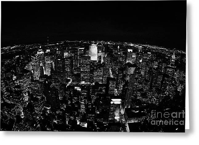 Manhatan Greeting Cards - Fisheye View North At Night Towards Central Park New York City  Greeting Card by Joe Fox