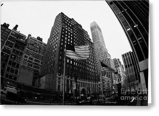 fisheye view of 34th street from 1 penn plaza new york city Greeting Card by Joe Fox