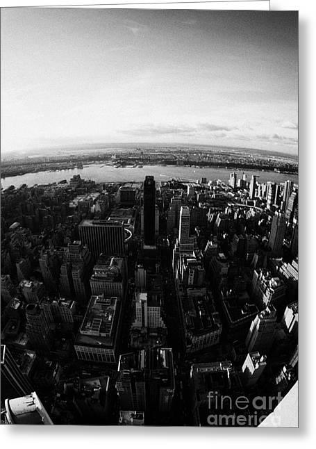 Fisheye View Of Manhattan West Towards Hudson River New York City Greeting Card by Joe Fox