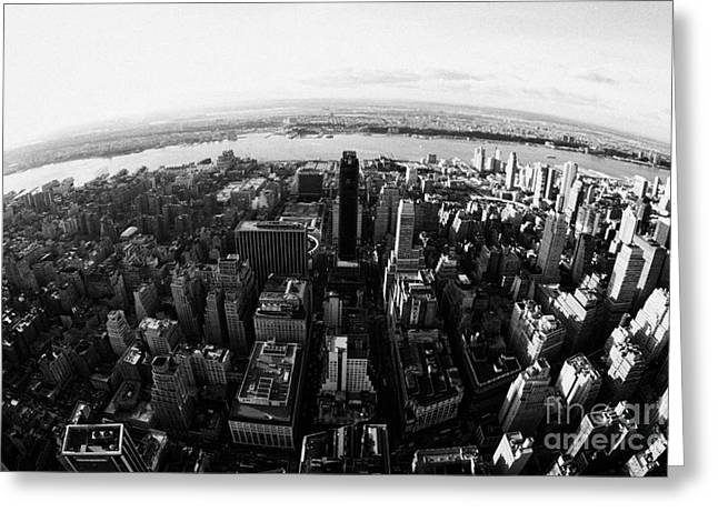 Distortion Greeting Cards - Fisheye View Of Manhattan West Towards Hudson River New York City Usa Greeting Card by Joe Fox