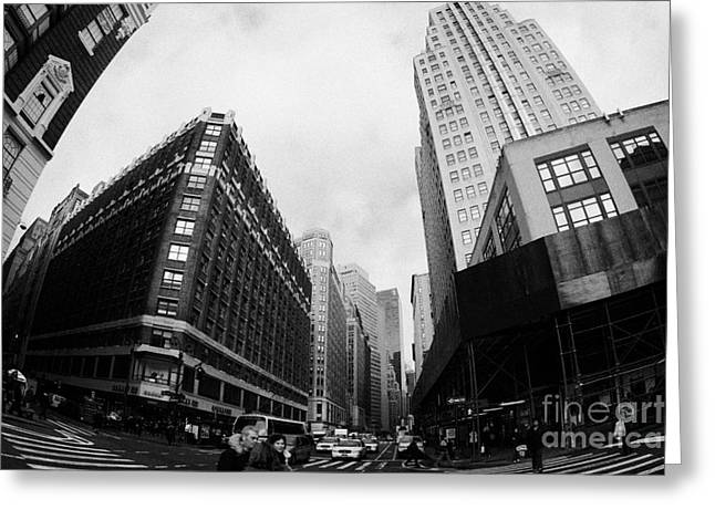 Manhatan Greeting Cards - Fisheye View Of The Herald Square Building And Cross Walks Over Broadway New York Greeting Card by Joe Fox