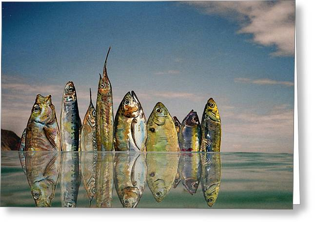 Flying Fish Greeting Cards - Fishhattan Greeting Card by Juan  Bosco