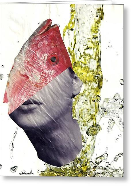 Absurd Surreal Greeting Cards - FishHead Greeting Card by Sarah Loft
