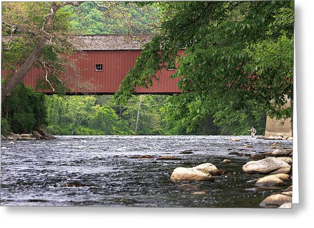 Connecticut Covered Bridge Greeting Cards - Fishin Greeting Card by Bill  Wakeley