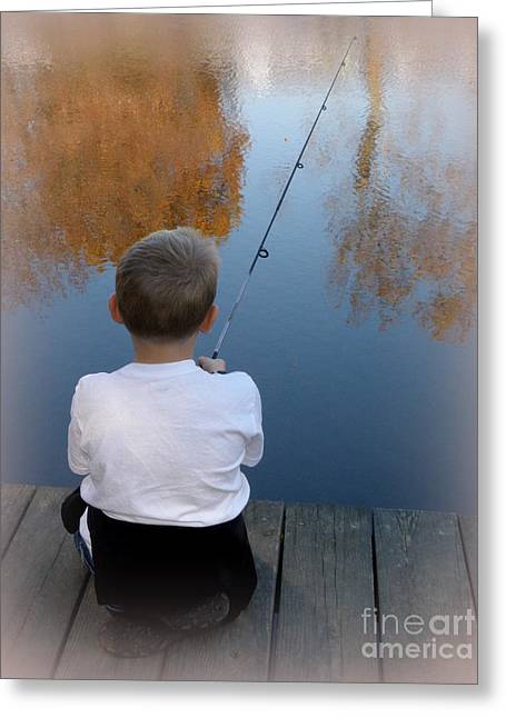 Fishin' Greeting Card by Lainie Wrightson