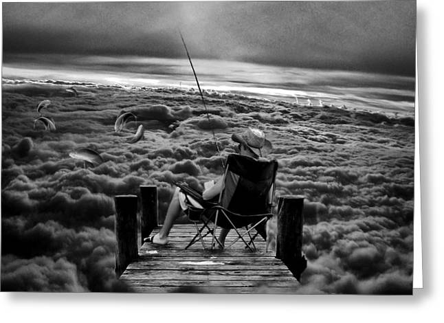 Oniric Greeting Cards - Fishing Above the Clouds grayscale Greeting Card by Marian Voicu