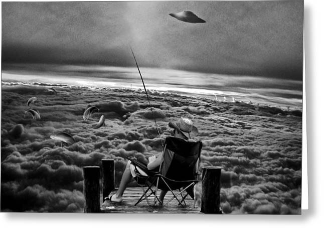 Photo Collage Greeting Cards - Fishing Above the Clouds grayscale Greeting Card by Marian Voicu
