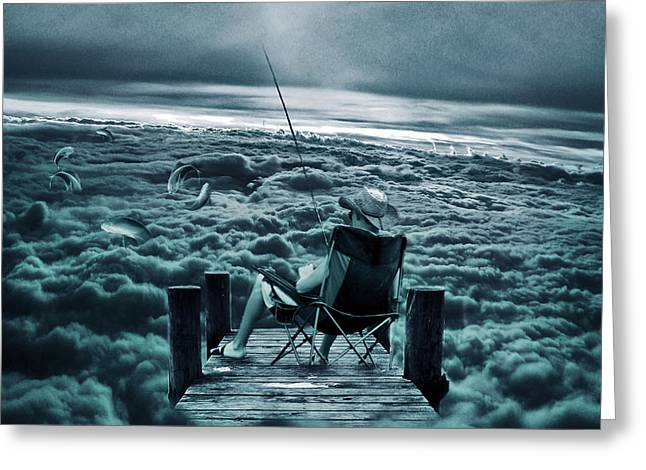 Oniric Greeting Cards - Fishing Above the Clouds Greeting Card by Marian Voicu