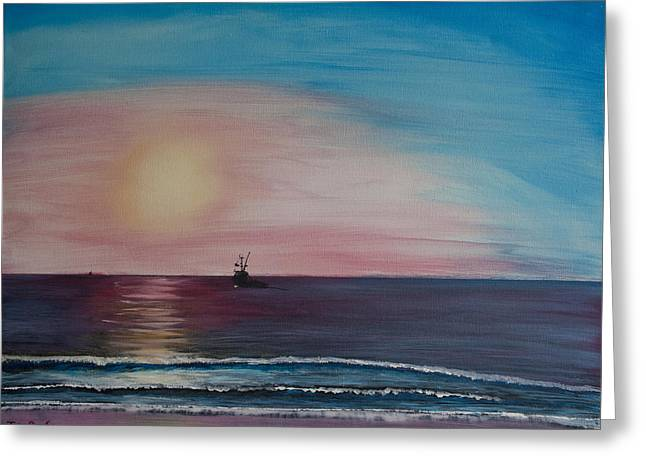 Ventura California Greeting Cards - Fishing Alone at Night Greeting Card by Ian Donley