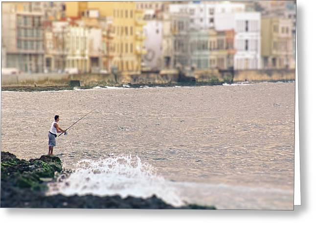 Malecon Greeting Cards - Fishing along the Malecon.. Greeting Card by A Rey