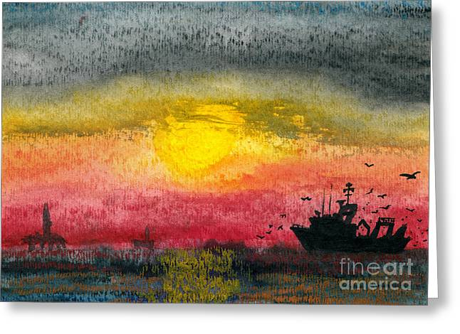 Sea Platform Paintings Greeting Cards - Fishing Among the Rigs Greeting Card by R Kyllo