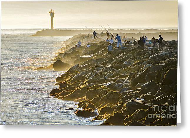 Half Moon Bay Greeting Cards - Fishing and Foghorn Greeting Card by Amy Fearn
