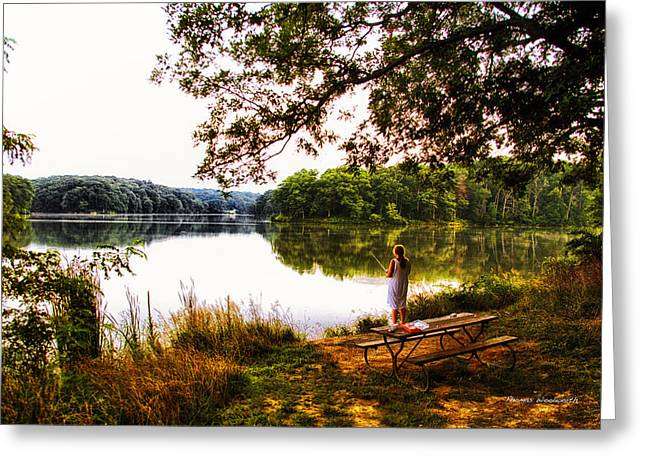 Argyle Digital Greeting Cards - Fishing At Argyle Lake Greeting Card by Thomas Woolworth