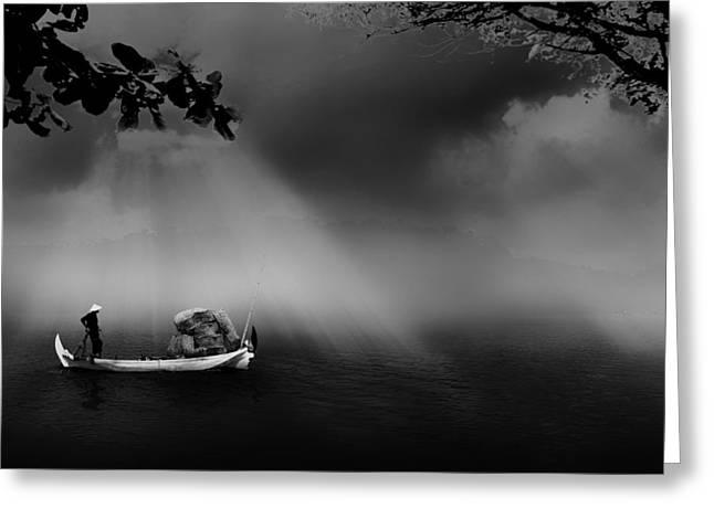 Fishing Boats Greeting Cards - Fishing at Daybreak Greeting Card by Mountain Dreams