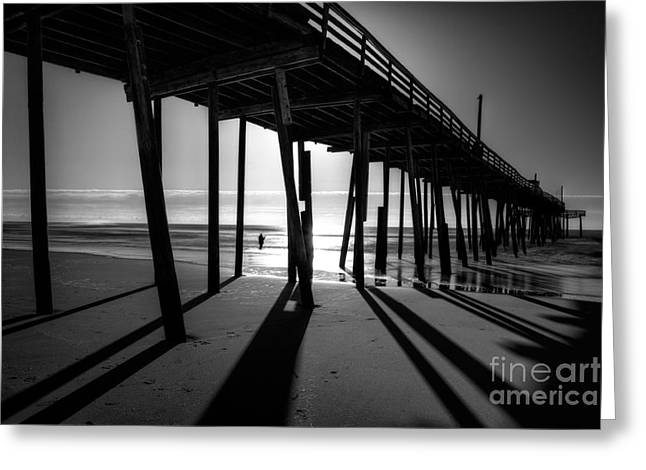 Frisco Pier Greeting Cards - Fishing at Frisco Outer Banks BW Greeting Card by Dan Carmichael