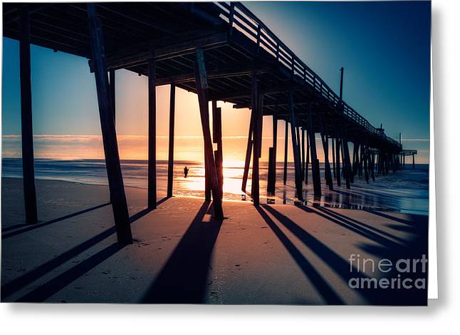 Frisco Pier Greeting Cards - Fishing at Frisco Outer Banks Greeting Card by Dan Carmichael