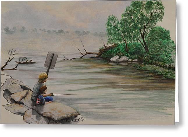Willow Lake Drawings Greeting Cards - Fishing at Lake Palourde Greeting Card by Peter E Malbrough