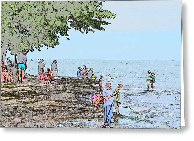 Historic Site Drawings Greeting Cards - Fishing at Marblehead Greeting Card by Jim Steinmiller