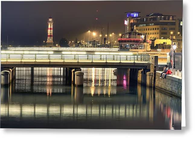 Calm Greeting Cards - Fishing at Night Greeting Card by EXparte SE