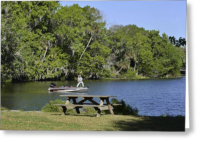 Fishing Boat Greeting Cards - Fishing at Ponce De Leon Springs FL Greeting Card by Christine Till