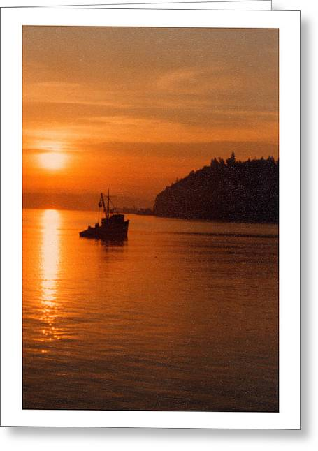 Puget Sound Framed Prints Greeting Cards - Fishing at sunrise Greeting Card by Jack Pumphrey