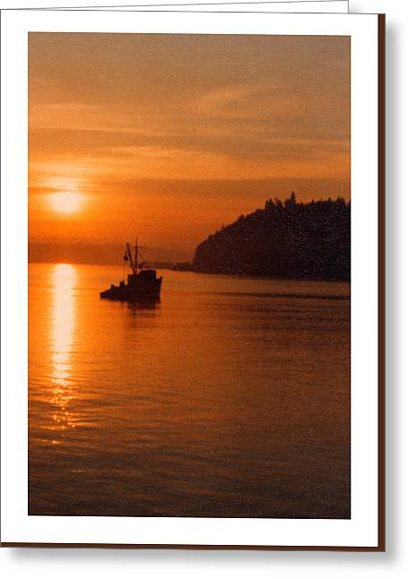 Seattle Framed Prints Greeting Cards - Fishing at Sunset Greeting Card by Jack Pumphrey