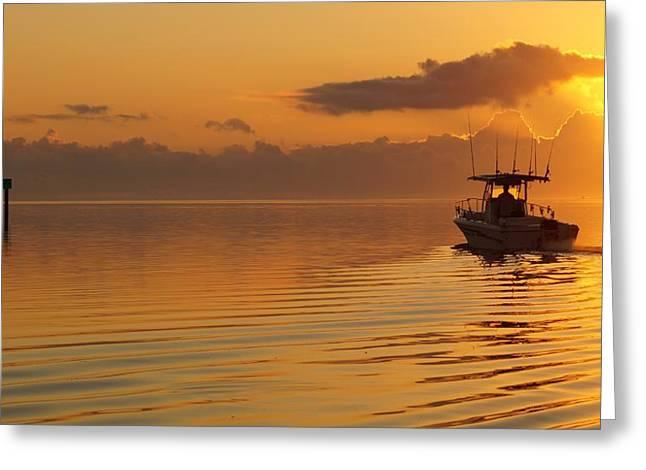 Fishing At Sunrise Greeting Card by John Wall