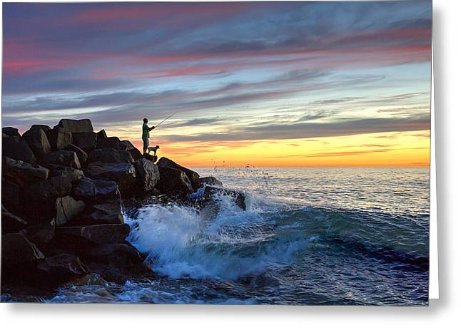 Ann Patterson Greeting Cards - Fishing at Sunset Greeting Card by Ann Patterson