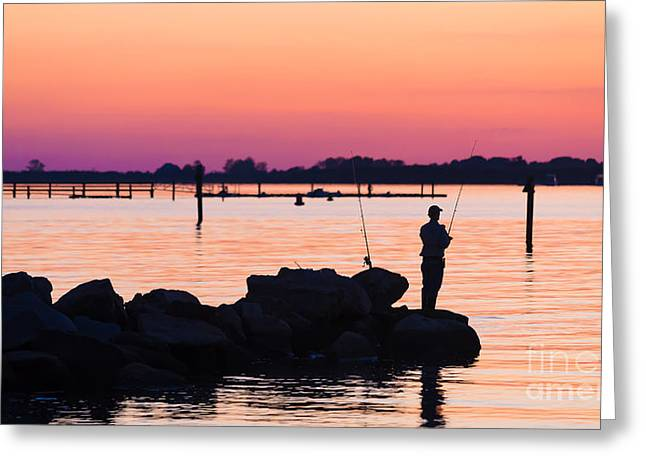 Fishermen Greeting Cards - Fishing at sunset Greeting Card by Edward Fielding