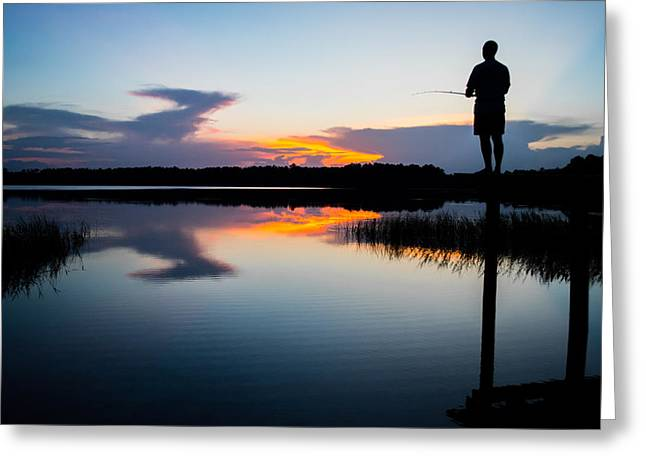 Cabin On A Lake Greeting Cards - Fishing At Sunset Greeting Card by Parker Cunningham