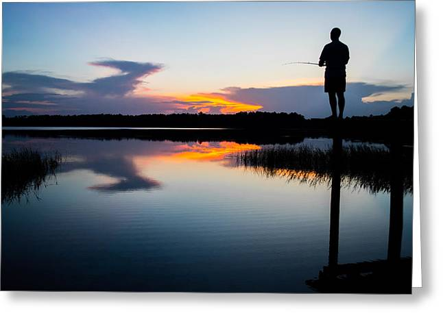 Gainesville Greeting Cards - Fishing At Sunset Greeting Card by Parker Cunningham