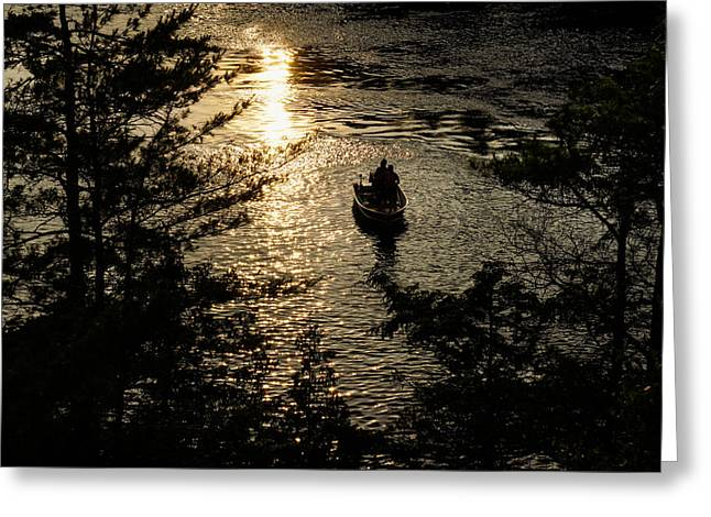Pairs Greeting Cards - Fishing at Sunset - Thousand Islands Saint Lawrence River Greeting Card by Georgia Mizuleva