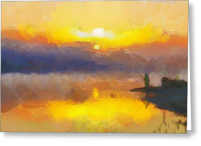 Amazing Sunset Digital Greeting Cards - Fishing at Sunset Greeting Card by Yury Malkov