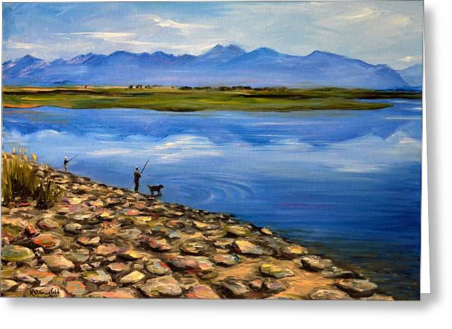 Wildlife Refuge. Paintings Greeting Cards - Fishing at the Rockies Greeting Card by Karen Strangfeld
