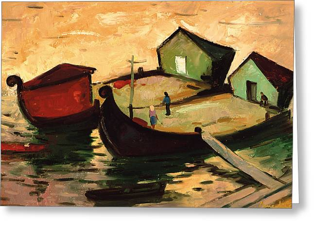 Exploring Paintings Greeting Cards - Fishing barges on the River Sugovica Greeting Card by Emil Parrag