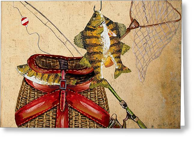 Gill Netter Greeting Cards - Fishing Basket  Greeting Card by Jean Plout