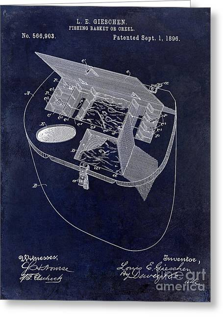 Trout Fishing Greeting Cards - Fishing Basket or Creel Patent Drawing Blue Greeting Card by Jon Neidert
