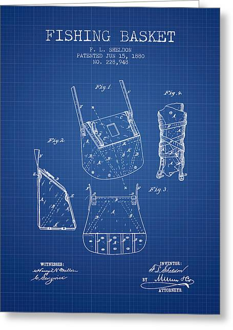 Fishing Rods Greeting Cards - Fishing Basket Patent from 1880 - Blueprint Greeting Card by Aged Pixel