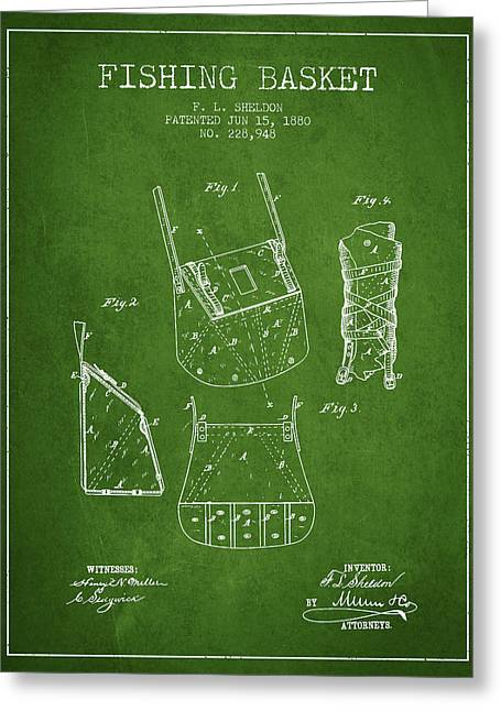 Tackle Greeting Cards - Fishing Basket Patent from 1880 - Green Greeting Card by Aged Pixel