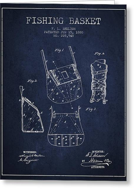 Fishing Rods Greeting Cards - Fishing Basket Patent from 1880 - Navy Blue Greeting Card by Aged Pixel